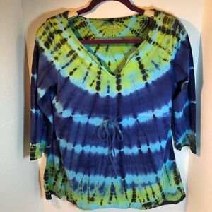 Blue & Green Tie Dye Quarter Sleeve V Neck Shirt M